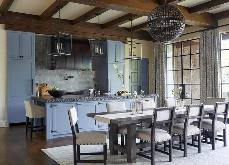 Rustic Country Dining Room with Gray-Blue Cabinets