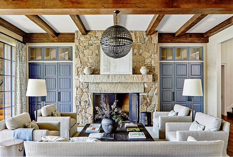 Beach Style Living Room with Fireplace in Lakeside Estate