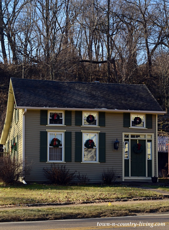 Historic Clapboard Home Decorated for Christmas
