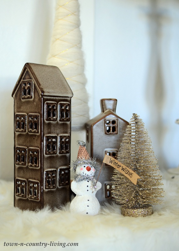 Vintage Christmas Village with Ceramic Houses and Bottle Brush Trees