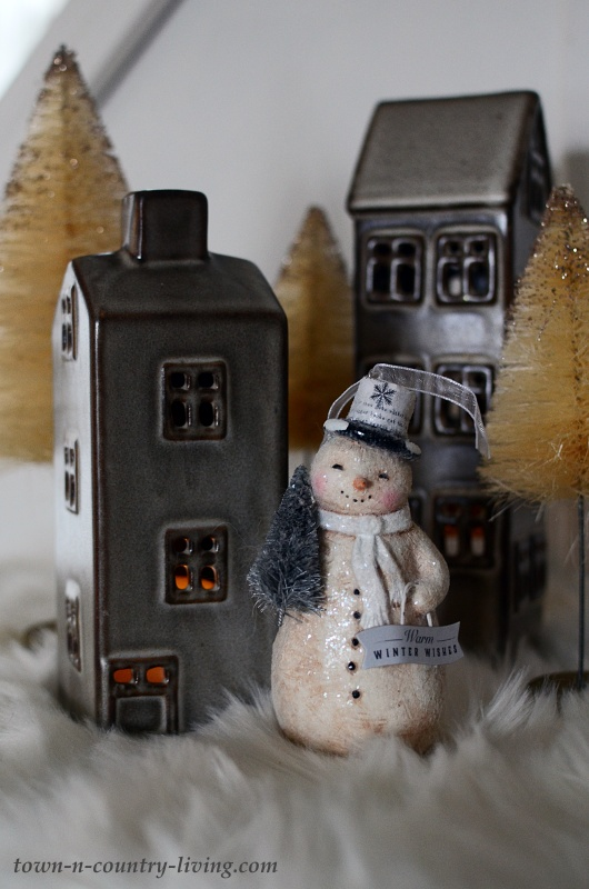 Snowman Christmas Village with Ceramic Houses and Bottle Brush Trees