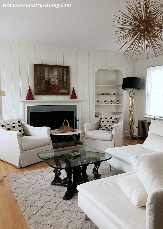 White Living Room in Eclectic Apartment