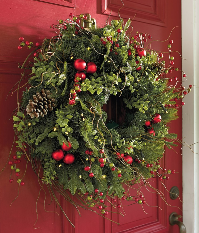 Christmas Wreath on Red Door by Grandin Road