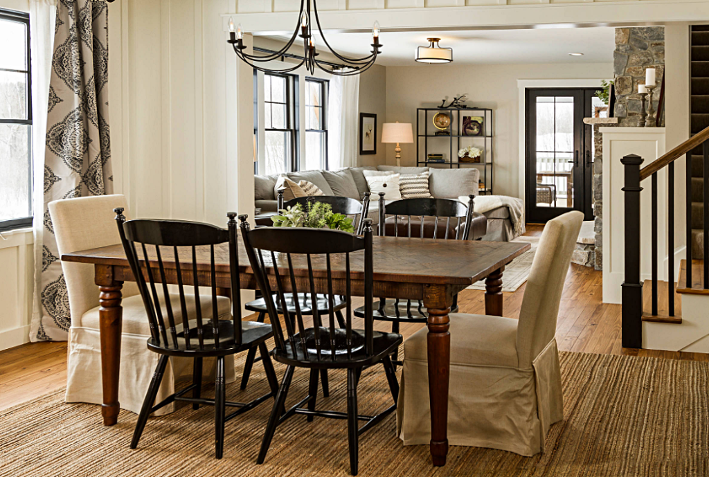 Open Concept Living - Modern Farmhouse Dining and Living Rooms