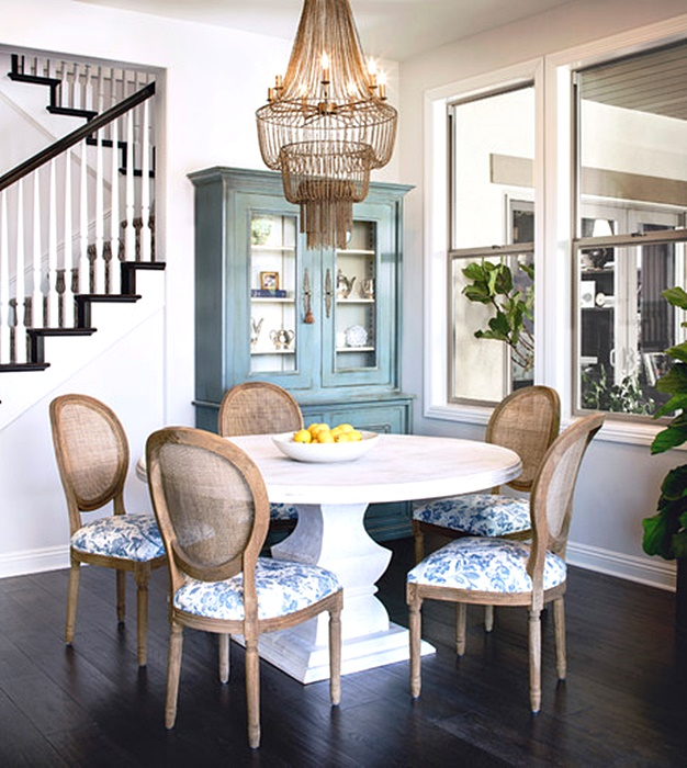 Eclectic Dining Room with Wood Bead Chandelier