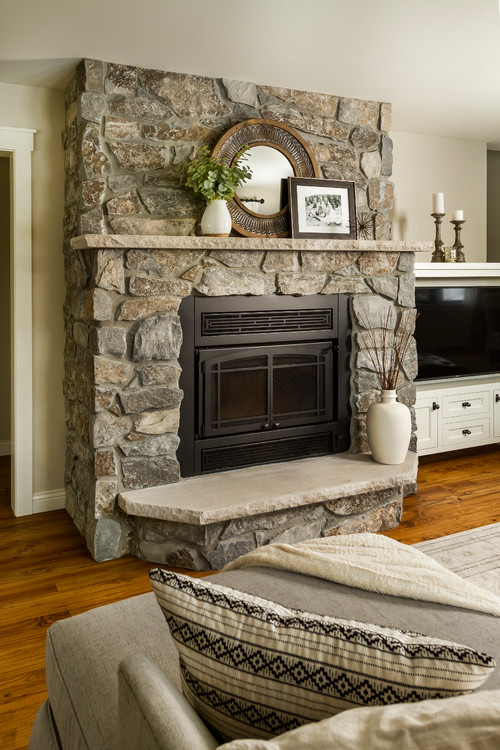Rustic Stone Fireplace in Neutral Living Room