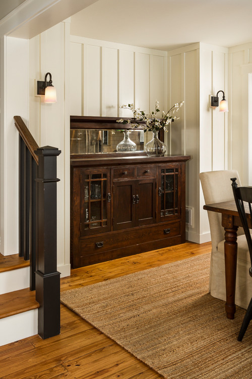 Antique Wood Buffet Tucked in Dining Room Nook