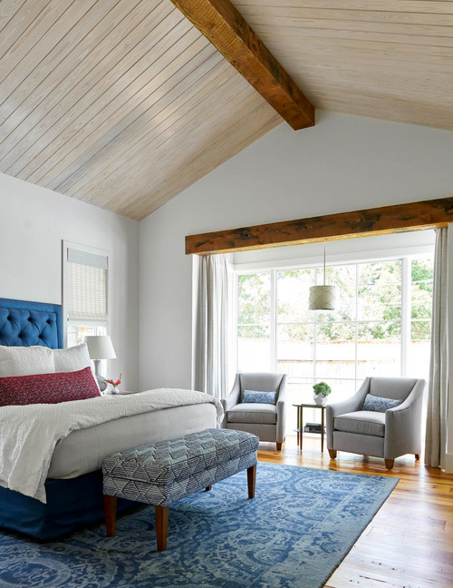 Master Bedroom with Vaulted Wood Ceiling and Wood Floors