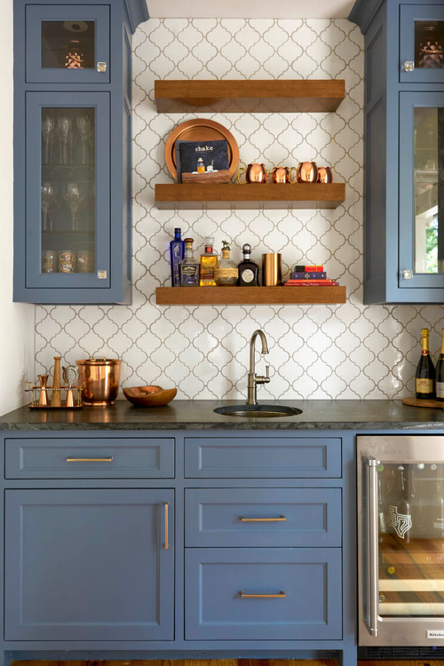 Butler's Pantry with Classic Blue Custom Cabinetry
