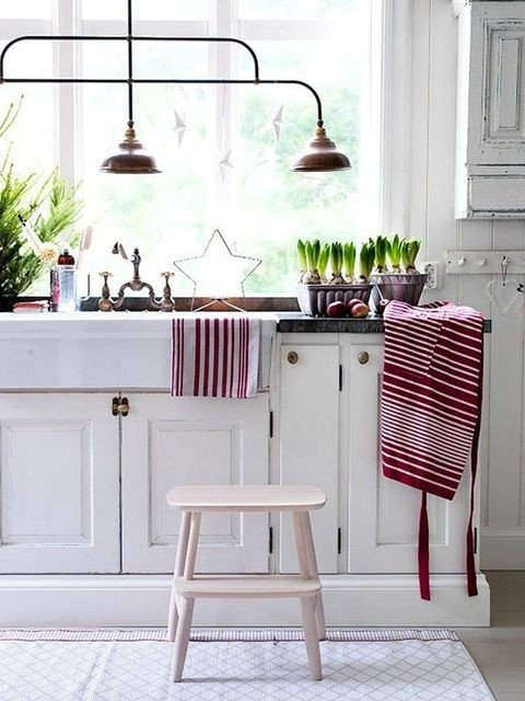 Red and White Farmhouse Kitchen