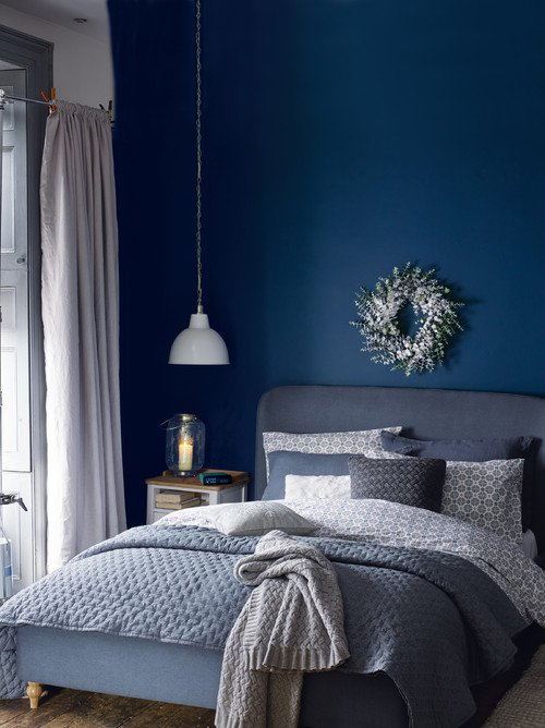 Dark blue Scandinavian style bedroom
