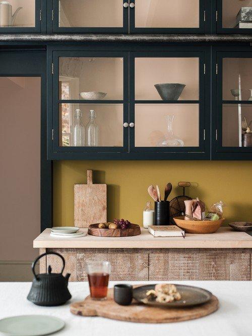 Dark Gray Glass Front Kitchen Cabinet