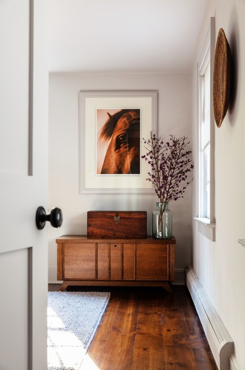 Large Horse Print in White and Wood Room