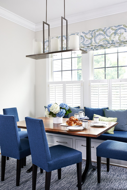 Blue Upholstered Dining Chairs in White Breakfast Nook