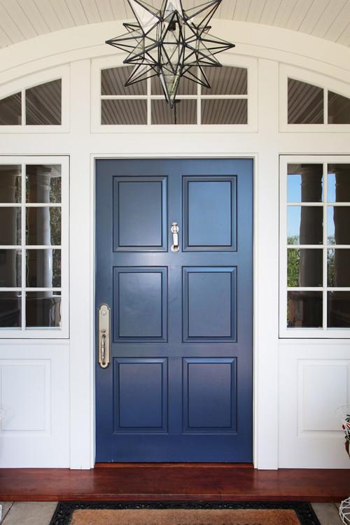 Front Entryway Door Painted in Classic Blue