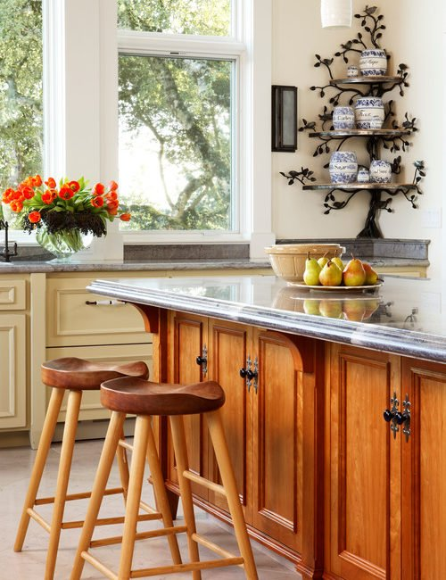 Custom Kitchen with Large Wood Island