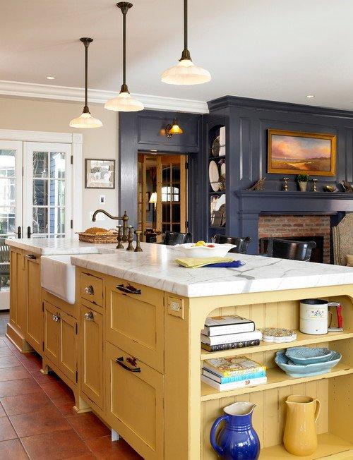 Mustard Yellow Kitchen Island in Dark Gray Kitchen