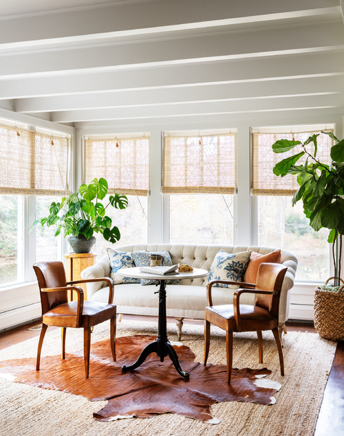 Neutral Sun Room in Eclectic Farmhouse