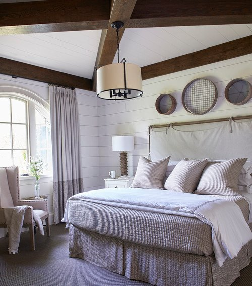 Beach Style Bedroom with Wooden Beams on Ceiling
