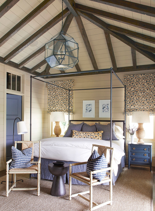 Country Estate Bedroom with Vaulted Ceiling and Poster Bed