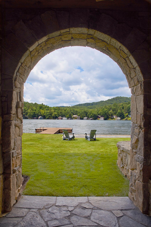 View of the Lake through Stone Archway