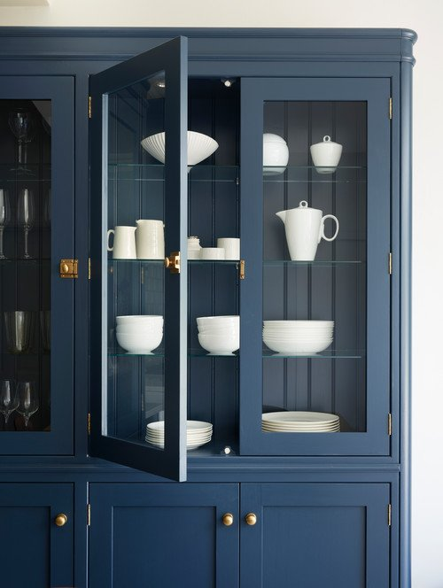 Classic Blue China Cabinet with White Ironstone