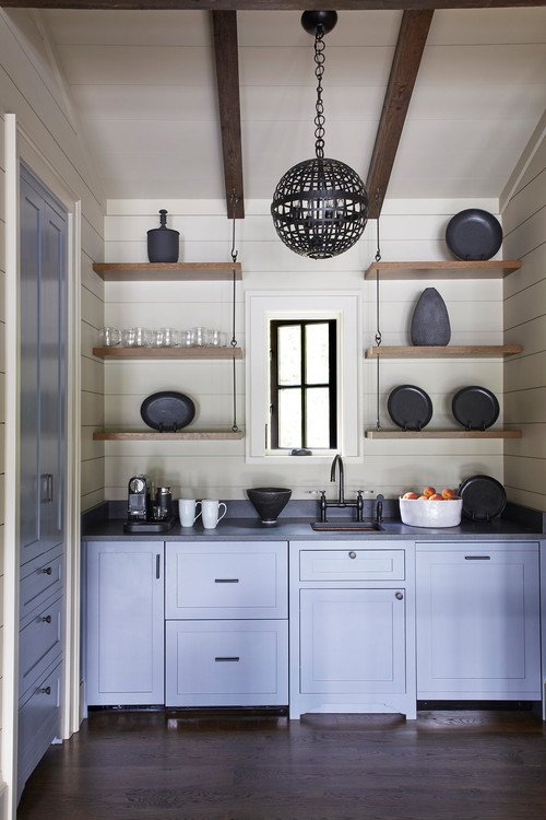 Butler's Pantry with Gray-Blue Cabinets