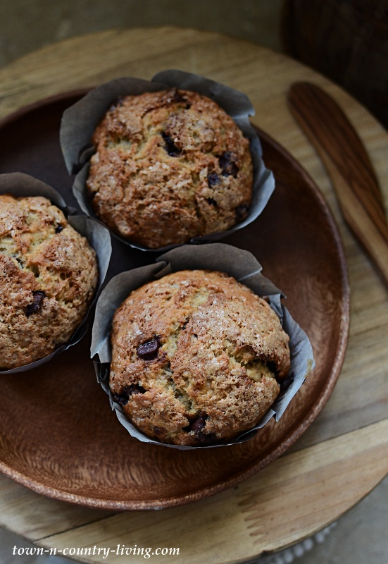 Wood Plate with Morning Muffins