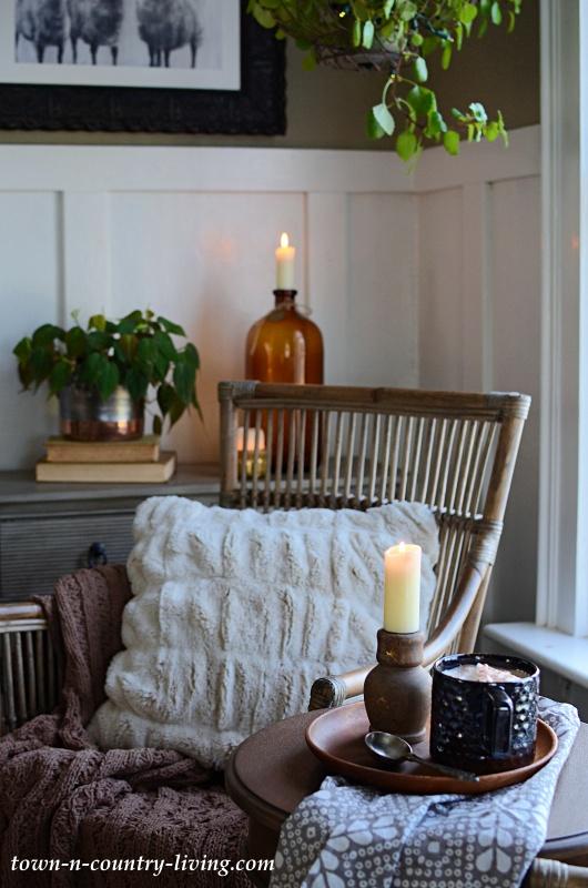 Faux Fur Pillow on Rattan Chair