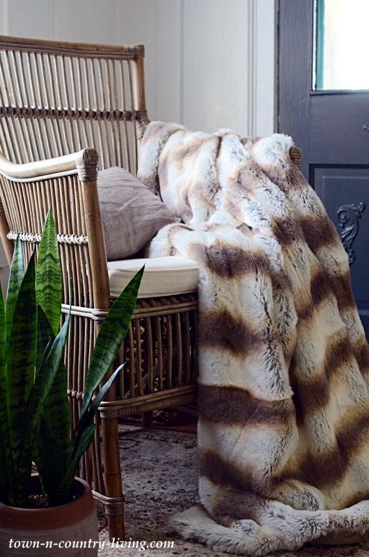 Faux Fur Chinchilla Throw on Rattan Chair