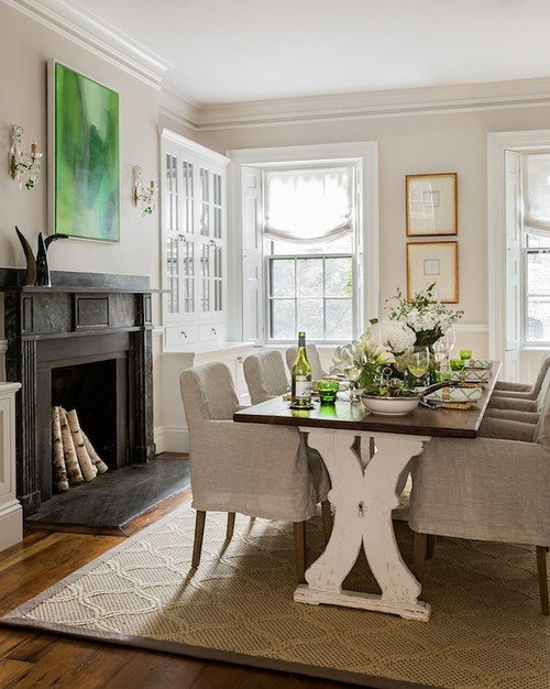 French Country Style Dining Room in Historic Beacon Hill