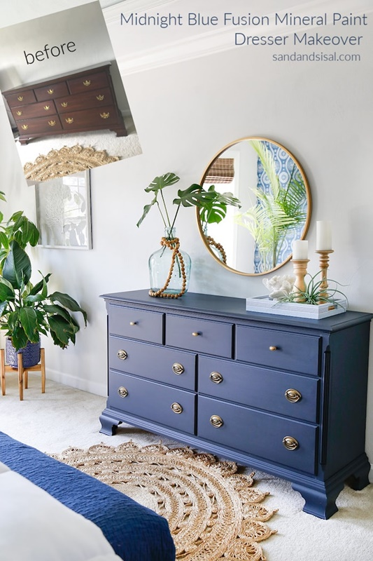 Midnight Blue Fusion Mineral Painted Dresser