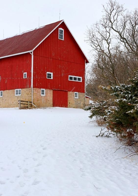 Winter Scene - Red Barn in Snow - Rural Landscape