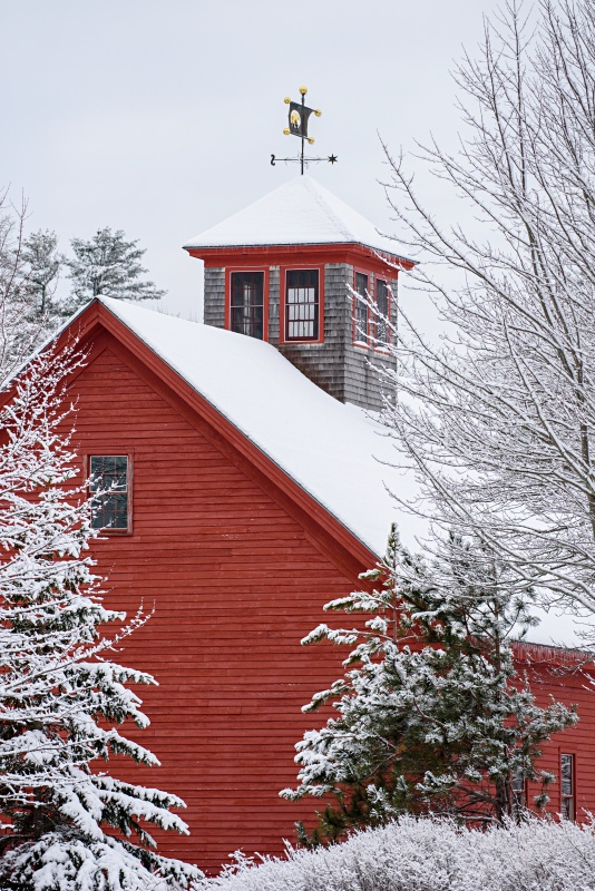 Kennebunkport Red Barn with Cupola in Winter
