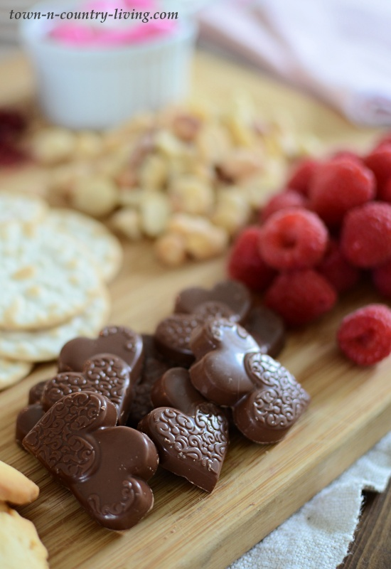 Valentine's Charcuterie Board with Chocolates, Cheese, Fruit, Crackers, and Cookies