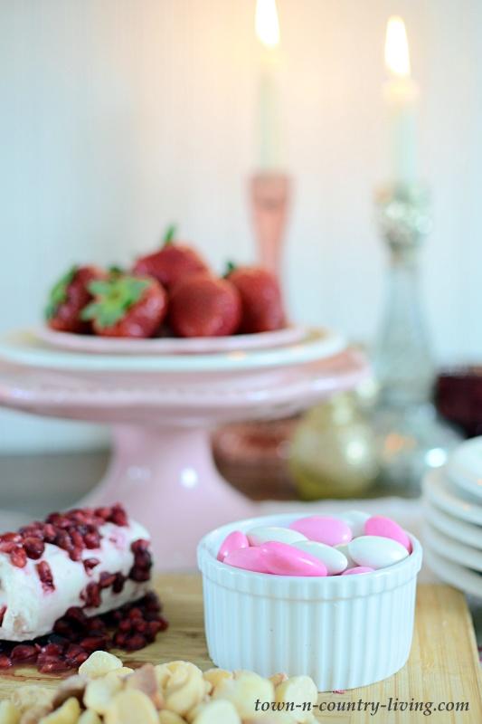 Valentine's Day Treats - Jordan Almonds, Strawberries, Goat Cheese, Pomegranate