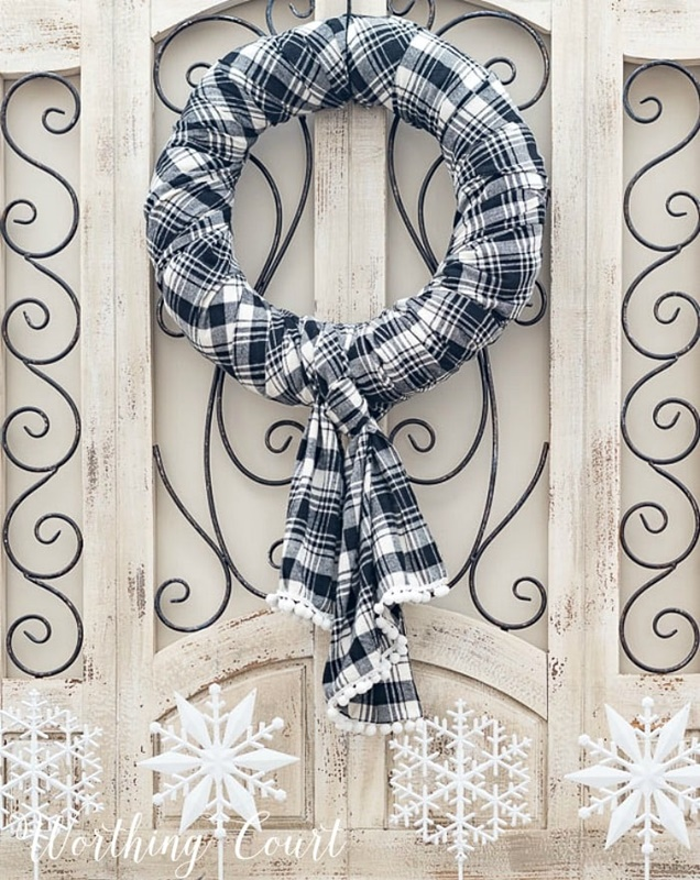 DIY Plaid Fabric Wreath