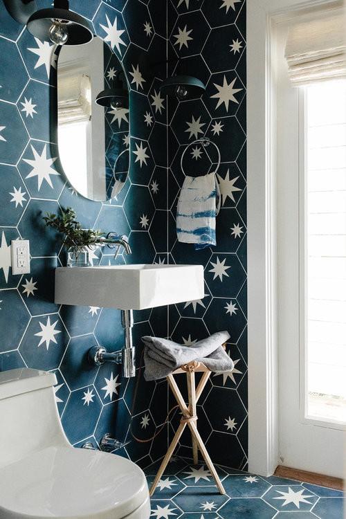 Mid Century Style Dark Blue Bathroom with One-Piece Toilet