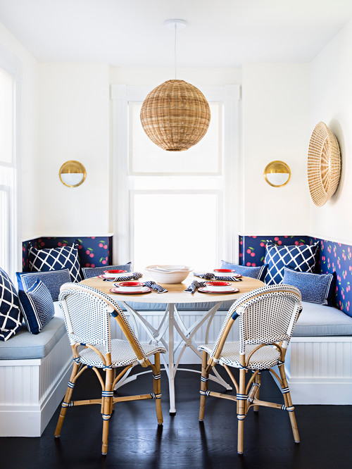 Bright and Cheery Breakfast Nook in Classic Blue and White