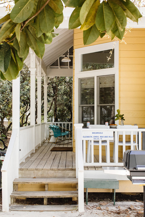 Yellow Beach Style Cottage with Small Porch