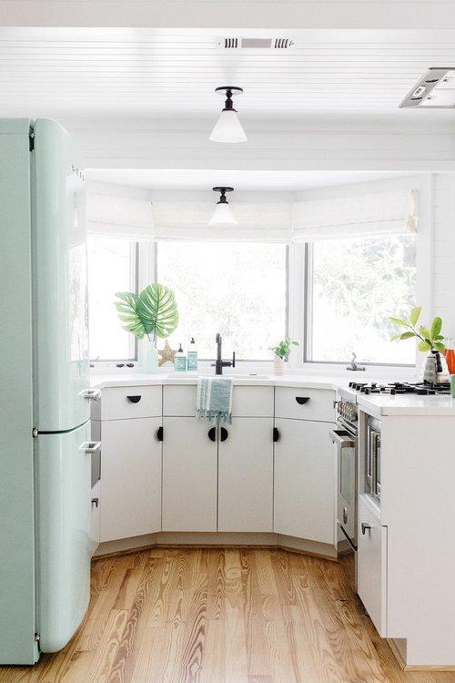 Vintage Style Kitchen with Mint SMEG Refrigerator