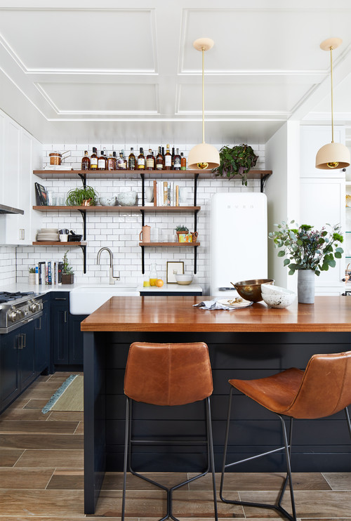 Navy and Wood Kitchen