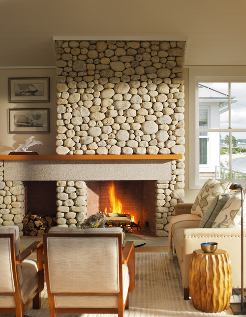 Neutral Living Room with Smooth Rock Fireplace