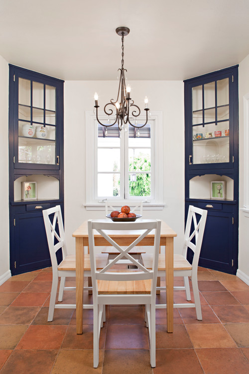 Matching Blue Corner Hutches in Country Style Breakfast Nook
