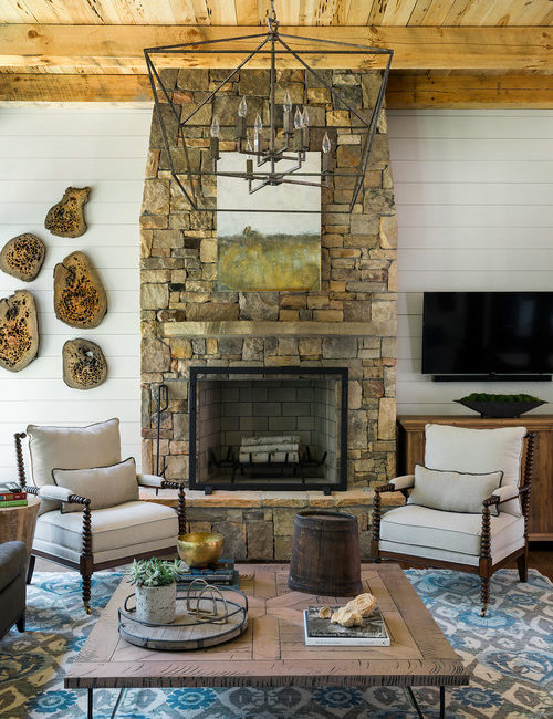 Stone Fireplace in Neutral Living Room