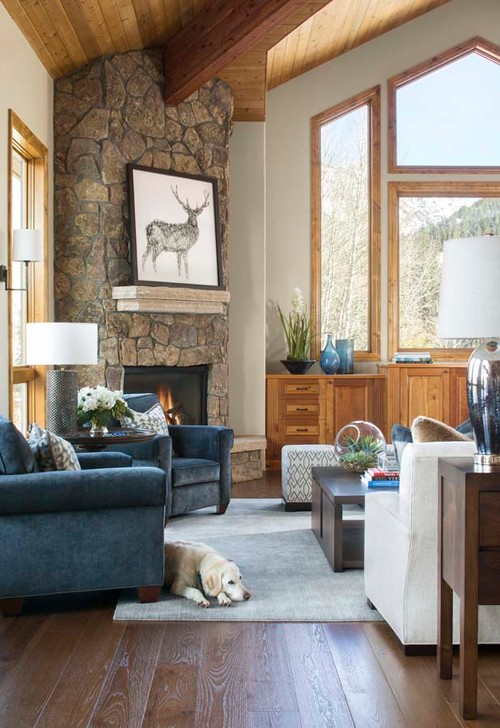 Rustic Corner Fireplace in Mountain Home