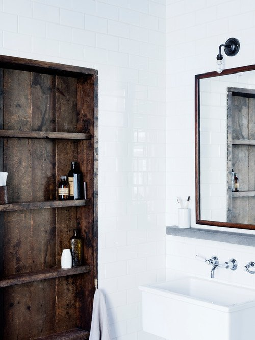 Industrial Bathroom with Subway Tile
