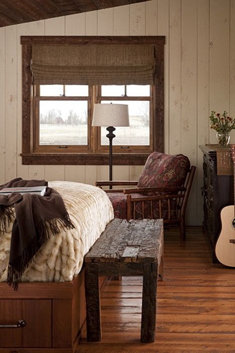 Cozy Corner in a Cabin Master Bedroom