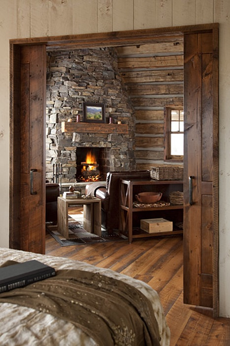 Rustic Stone Fireplace in Cozy Cabin Retreat