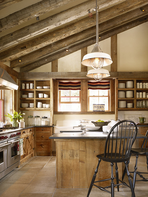 Rustic Kitchen with Open Shelves and Ample Kitchen Island